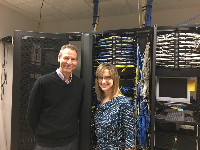 Nicole Powell, Century College, with U of MN Nano Center Professor Dr. James Marti in the ARC Server Room