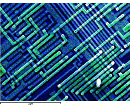 Semiconductor Chip de-capped for trace editing by FIB