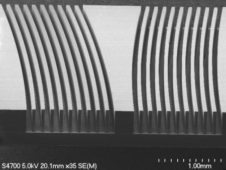 SEM S4700  Curved Fins of an Ion Spectrometer