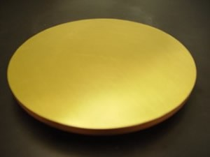 "Gold deposited on entire 8"" silicon wafer"