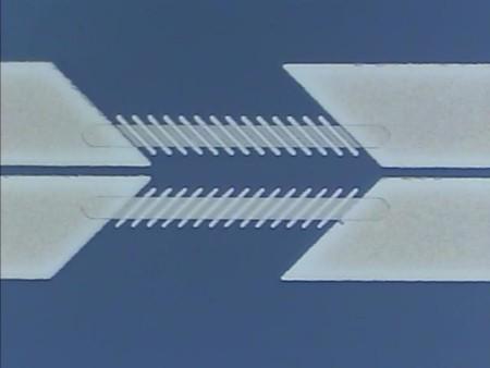 Figure 7. Patterned Die for a 0.5 mm Anisotropic Magnetoresistance (AMR) Dual Barber Pole Sensor